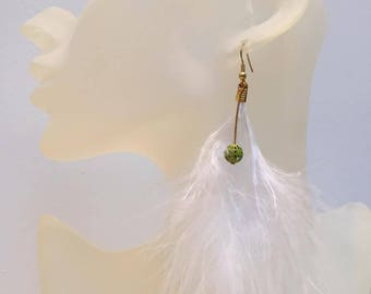 """Golden earrings 1 """"white"""" Pearl green feather"""