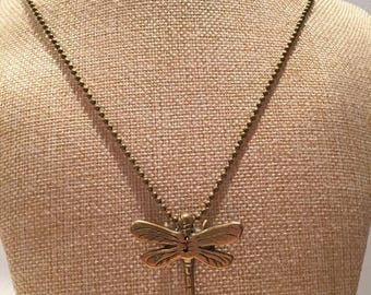 Dragonfly necklace bronze relief