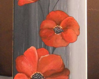 Rectangular acrylic painting and poppies
