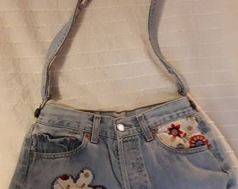 recycled jean shoulder bag hand carried