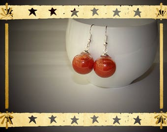 Glass globe filled with liquid copper opaque Pearl mounted on Stud Earrings