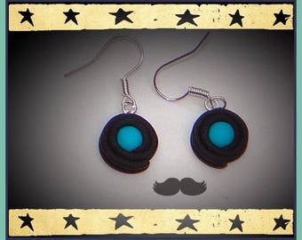 licorice and its 1.3 cm turquoise candy on dangling earrings