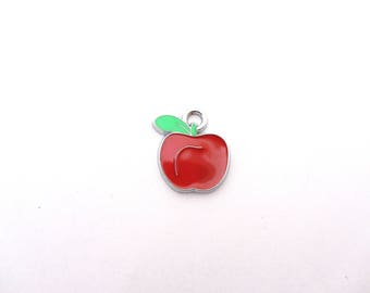 charm,apple charm,bracelet charm,red apple,enamel beads,enamel apple, little apple