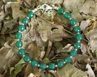 Bracelet 925 sterling silver and Semi precious - Green Onyx stone
