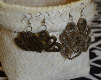 Brown Coiled Floral, 5-Spiraled Design Earrings - Recycled Paper