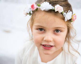 Pink and white silk flower Crown