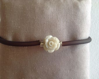Flower Brown cord bracelet