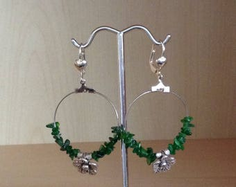 Russian hoops diosine stones + silver metal flower
