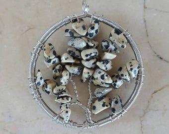 1 real tree of life Dalmatian Jasper gemstone pendant