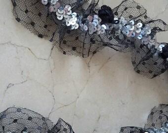 1 meter of lace flowers trim elastic width 50 mm