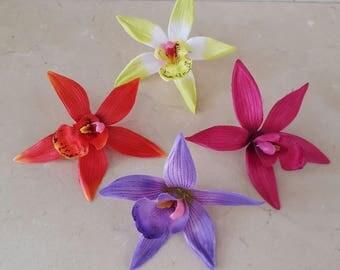 set of 4 appliques flowers Orchid 10 cm