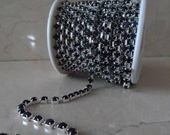 1 meter of 4 mm black and silver rhinestone chain trim