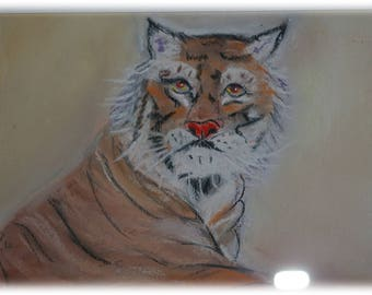 Dreamy Pastel Tiger painting pastel painting signed and framed