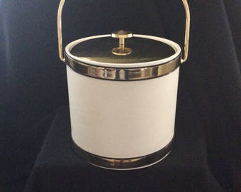Vintage Ice Bucket Mid Century modern Kraftware Ice Bucket Gold White Brass Handle Top MCM Retro 1970's bar ware