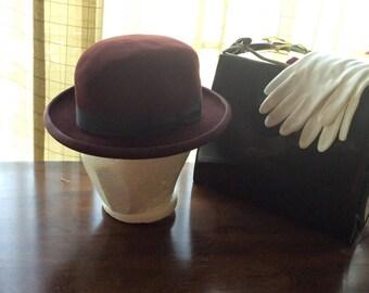 Vintage felt hat, Bailey genuine fur felt hat,winter maroon hat,small wine color fur felt hat,black trim hat,burgundy fur head wear, 50s 60s