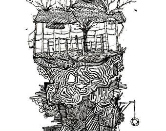Floating Arboretum - Original Pen and Ink Drawing