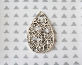 Filigree drop pendant, 53 mm antique silver