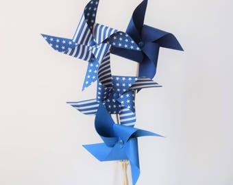 4 blue and white pinwheels - room decoration, christening, baby shower, birthday, wedding