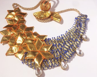 Cobalt Gold Gota Jewellery set with necklace and earring