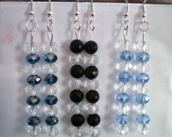 Earrings dangle 8 or 9 Crystal beads - approximately 7 cms h
