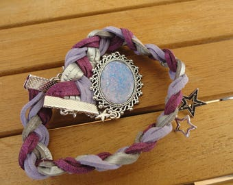 """braided suede bracelet doubles tour, cabochon and charms """"Galaxy"""""""