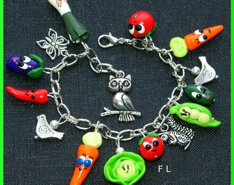 Vegetables kawaii Follies bird, butterfly, OWL charm bracelet owl, squirrel, Bohemian