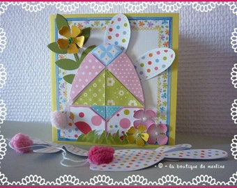 Easter card: Bunny with colorful dots and patchwork fashion Easter egg