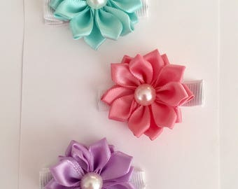 Esme collection includes 3 silk flower hair clips