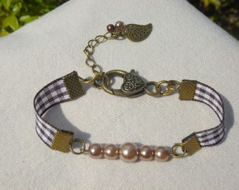 Bracelet Brown gingham and polished beige and brown glass beads