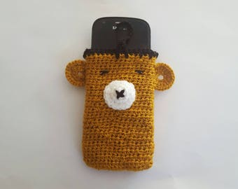 MOBILE holder crochet TEDDY BEAR