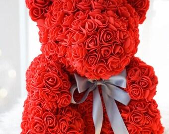 Rose Bear, Forever Rose Teddy Bear, Faux Flower Rose Teddy Bear, Girlfriend Gift, Anniversary Gift