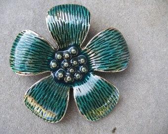Large flower enameled pendant blue 5.5 cm
