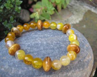 Ceramic and yellow agate Beads Bracelet