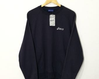 DEADSTOCK!!RARE!! Vintage Asics Spellout Small Logo Embroidery Sweatshirt Jumper Pullover Sweater Hoodies Blue Black