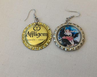 Decorated beer bottle cap earrings