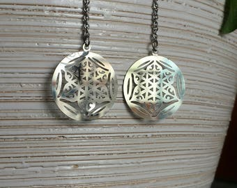 Earrings dangling chain and flower of life print