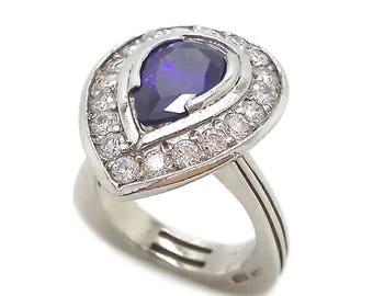 Amethyst Tear Zircons Women's Ring Sterling Silver 925 SKU