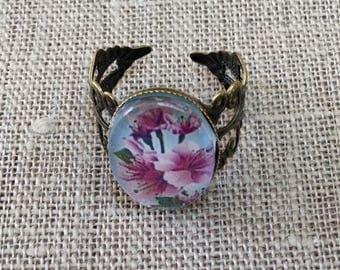 Ring oval cherry blossoms
