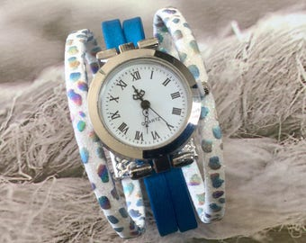 Ladies size watch. M.Ete 2018 round cuff trendy silvery blue and white