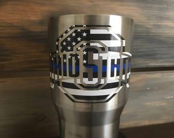 OSU Thin Blue Line Tumbler, Vinyl Decals,Custom Tumbler 30oz,Police,Ohio State Football,Gift for dad,Blue Line Flag,Police Officer love,20oz