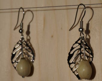 earrings with leaves and natural job's tears