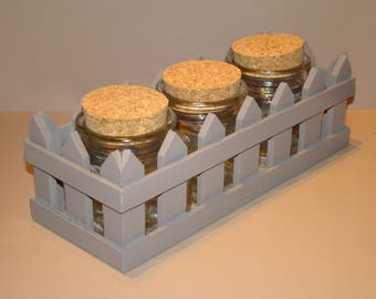 Wooden support gray color with 3 jars for candy, spices...