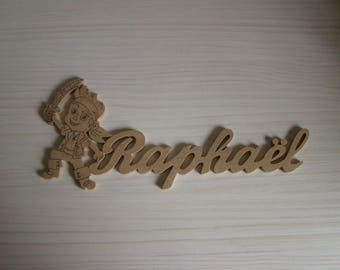 Door Jack the pirate with mdf wooden names