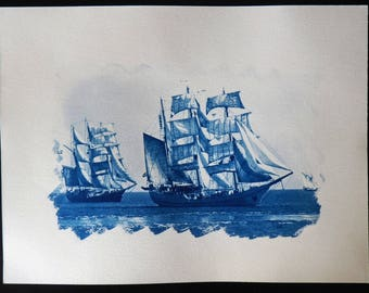 Three schooners, blue cyanotype