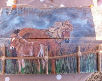 animal painting on wood (recycled): MOM Mare and her cub.
