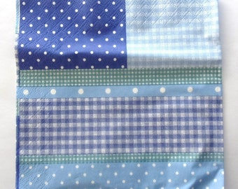 16 NAPKINS paper PATCHWORK of GINGHAM and polka dot blue REF. 3413