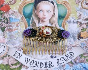 """Wonderland"" on Bronze Metal hair comb"