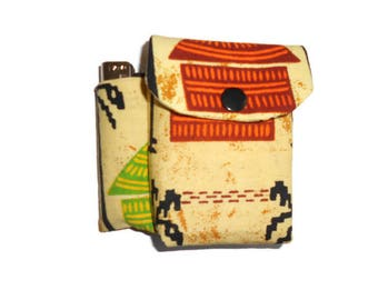 Yellow African fabric cigarette case