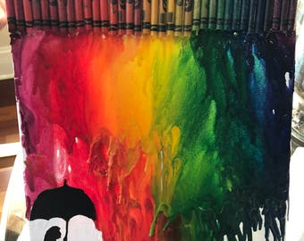 Rainbow Storm Melted Crayon Art