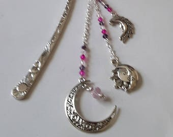 Bookmark Crescent Moon and Sun fuchsia